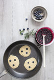 Blueberry Pancakes Cooking Royalty Free Stock Photography