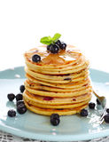 Blueberry pancakes with fresh blueberries Stock Image