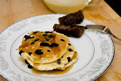 Blueberry Pancakes and Sausage Stock Photos