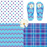 Blueberry Pattern Pack Chevron Daisy Plaid Dots Stock Images