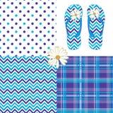 Blueberry Pattern Pack Chevron Daisy Plaid Dots royalty free illustration