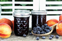 Blueberry Peach Preserves. Homemade canned blueberry peach preserves with fresh blueberries and peaches Royalty Free Stock Image