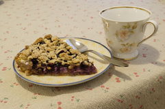 Blueberry pie afternoon tea setup. Blueberry pie dessert setup on table Stock Images