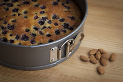 Gluten Free Blueberry and Almond Cake with Whole A. A blueberry and almond cake in a springform tin with some whole almonds on a wooden board Stock Images