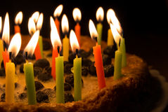 Blueberry pie with candles. Blueberry pie with birthday candles Royalty Free Stock Images