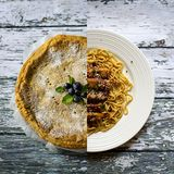 Blueberry pie and Chinese noodles Stock Image