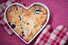 Blueberry pie. Delicious blueberry pie for Valentine's day Stock Photos