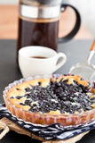 Blueberry pie and coffee Stock Photography