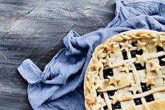Blueberry Pie and Grey Napkin Royalty Free Stock Photo
