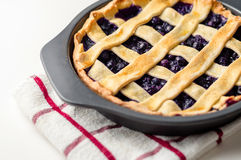 Blueberry Pie. Homemade blueberry pie cooling off in a baking pan Stock Photography
