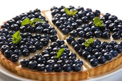 Blueberry pie on an isolated white background stock photography
