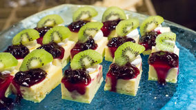 Blueberry pie with kiwi. On top Royalty Free Stock Image