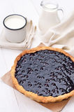 Blueberry pie and milk Royalty Free Stock Photo
