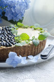 Blueberry pie with mint and hydrangea Royalty Free Stock Images
