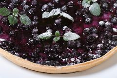 Blueberry pie with mint and powdered sugar macro top view Stock Photo