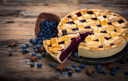 Blueberry pie. On the plate royalty free stock image