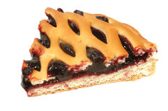 BLUEBERRY PIE  SLICE. Freshly baked blackberry cake, isolated on white background Stock Images