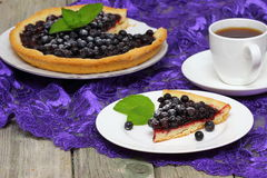 Blueberry pie. Slice of blueberry pie with mint royalty free stock photos