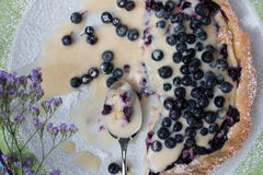 Blueberry pie. Slice on plate closeup top view studio Royalty Free Stock Images