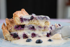 Blueberry pie. Slices on plate closeup side view Royalty Free Stock Image