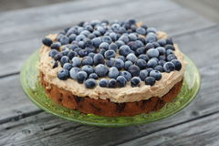 Blueberry pie. On the wooden background stock photography