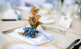 Blueberry Place Setting. Place Setting at a Reception with Blueberries on Napkin Royalty Free Stock Image