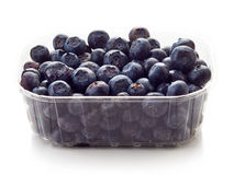 Blueberry in plastic container box isolated on white Stock Photography