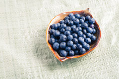 Blueberry in plate on canvas Royalty Free Stock Photo