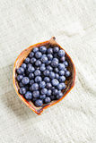 Blueberry in plate on canvas Stock Photo