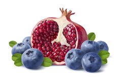 Blueberry and pomegranate half  on white background Stock Photography