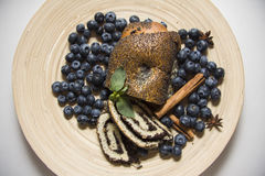 Blueberry and poppy seeds bun Royalty Free Stock Photo
