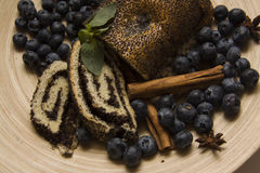 Blueberry and poppy seeds bun Stock Photos