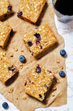 Blueberry Quinoa Oats Breakfast Bars royalty free stock image