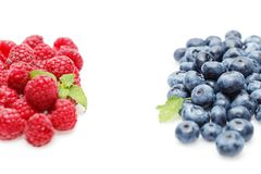 Blueberry and raspberry berries isolated on white background. Natural blueberry and raspberry berries with mint leaves isolated on white background. copy space Stock Photo