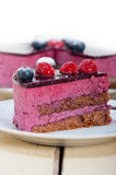 Blueberry and raspberry cake mousse dessert. With spice Royalty Free Stock Photos