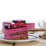 Blueberry and raspberry cake mousse dessert. With spice Stock Photos