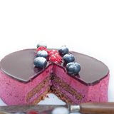 Blueberry and raspberry cake mousse dessert Royalty Free Stock Photos