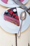 Blueberry and raspberry cake mousse dessert Royalty Free Stock Image