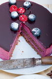 Blueberry and raspberry cake mousse dessert. With spice Stock Photography