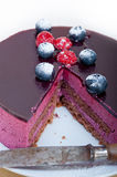 Blueberry and raspberry cake mousse dessert. With spice Stock Photo