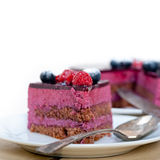 Blueberry and raspberry cake mousse dessert. With spice Royalty Free Stock Images