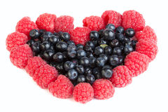 Blueberry and raspberry heart Stock Image
