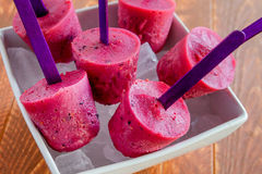 Blueberry and Raspberry Homemade Popsicles Stock Photography