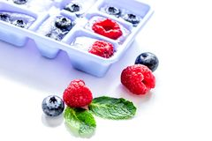Blueberry and raspberry in ice tray on stone background Royalty Free Stock Photography