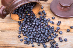 Blueberry or raspberry scattered from pot over wooden background. Health and diet concept. Copy space Stock Photography