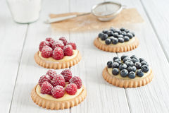 Blueberry and raspberry tartlets. With icing sugar Royalty Free Stock Image