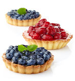 Blueberry and raspberry tarts Stock Photography