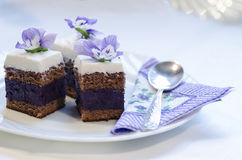 Blueberry's pie bars with ricotta cream, blurred background Royalty Free Stock Photo