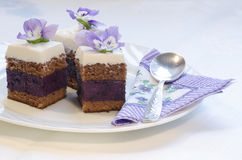 Blueberry's pie bars with ricotta cream Royalty Free Stock Images