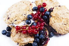 Blueberry scones. Some delicious blueberry and red currant scones royalty free stock photos